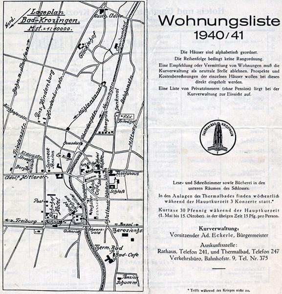 Wohnungsliste Bad Krozingen aus dem Jahr 1940/41